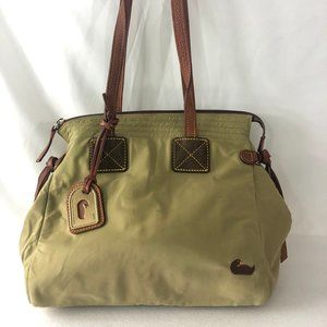 Dooney & Bourke Olive Nylon Brown Leather Tote